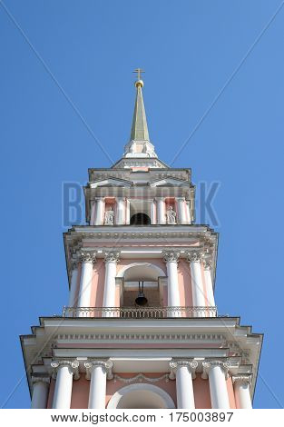 Bell tower of Church of Saints Cyril and Methodius at sunny day in St.Petersburg Russia.