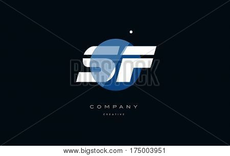 Sf S F  Blue White Circle Big Font Alphabet Company Letter Logo