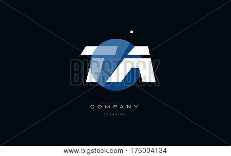 Ta T A  Blue White Circle Big Font Alphabet Company Letter Logo