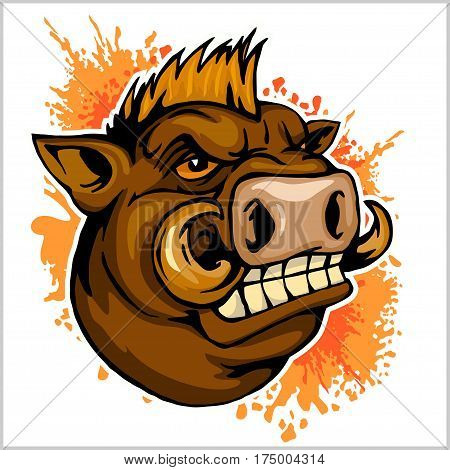 wild boar head mascot - on grunge background - vector illustration