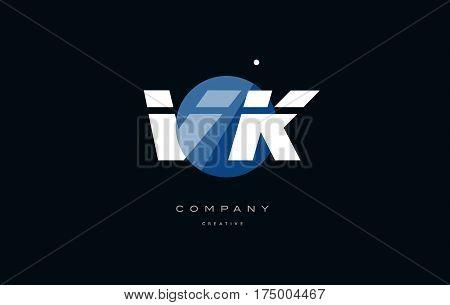 Vk V K  Blue White Circle Big Font Alphabet Company Letter Logo