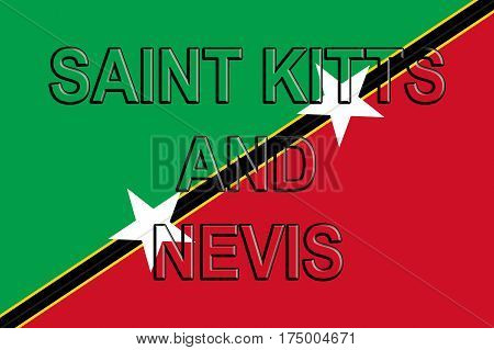 Illustration of the flag of Saint Kitts and Nevis with the country written on the flag.