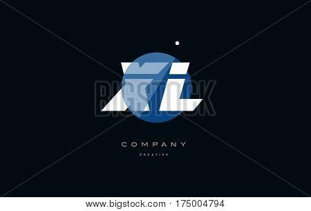 Xl X L  Blue White Circle Big Font Alphabet Company Letter Logo