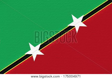 Illustration of the flag of Saint Kitts and Nevis looking like it has been painted onto a wall.