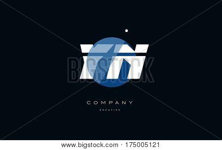 Yn Y N  Blue White Circle Big Font Alphabet Company Letter Logo