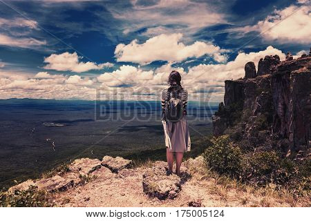 woman embrace nature at Bolivian mountains on the border with Brazil vintage effect Stock photo