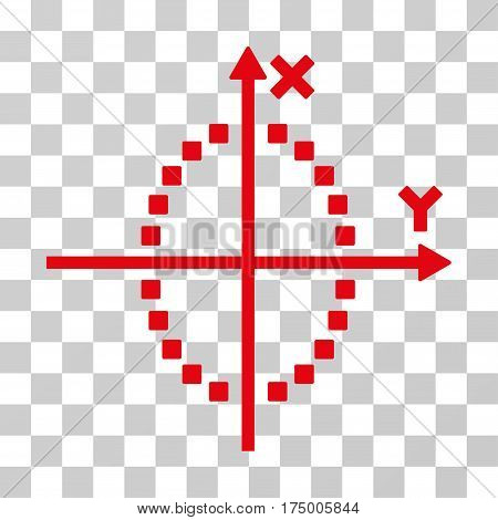 Ellipse Plot icon. Vector illustration style is flat iconic symbol, red color, transparent background. Designed for web and software interfaces.