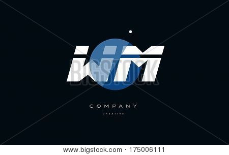 Wm W M  Blue White Circle Big Font Alphabet Company Letter Logo