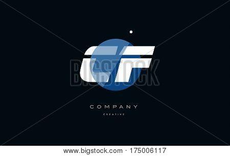 Cf C F  Blue White Circle Big Font Alphabet Company Letter Logo