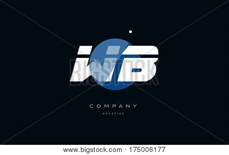 Wb W B  Blue White Circle Big Font Alphabet Company Letter Logo