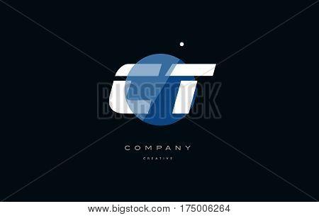 Ct C T  Blue White Circle Big Font Alphabet Company Letter Logo