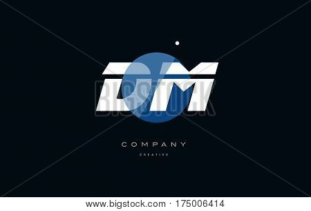 Dm D M  Blue White Circle Big Font Alphabet Company Letter Logo