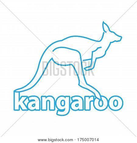 kangaroo line blue Logo. icon with the image of a kangaroo. Vector illustration.