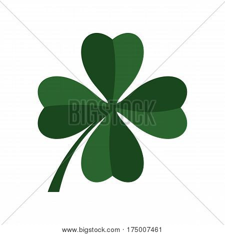 Green four leaf clover icon isolated on white background vector illustration