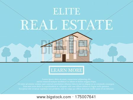 Vector illustration of cute houses for rent or sale in flat building style. background with blue pastel colors. country views with trees and shrubs. Banner for a website selling luxury real estate. vector illustration.