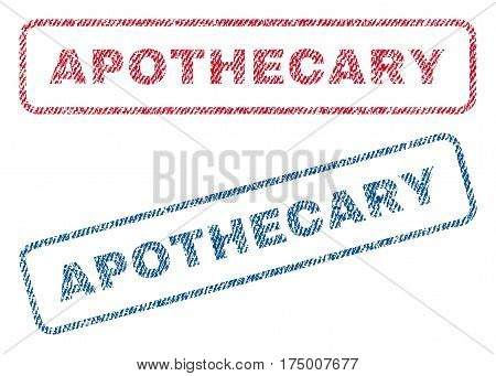 Apothecary text textile seal stamp watermarks. Blue, red fabric vectorized texture. Vector caption inside rounded rectangular banner. Rubber emblem with fiber textile structure.