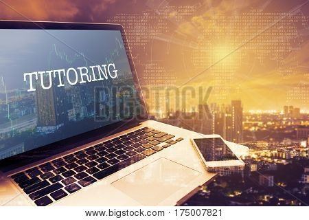 TUTORING: Grey screen laptop computer. Vintage effects. Digital Business and Technology Concept.