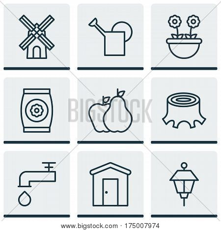 Set Of 9 Holticulture Icons. Includes Fertilizer, Bailer, Lantern And Other Symbols. Beautiful Design Elements.