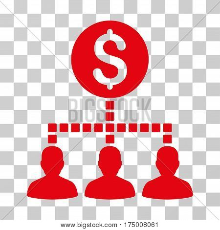 Money Recipients icon. Vector illustration style is flat iconic symbol, red color, transparent background. Designed for web and software interfaces.
