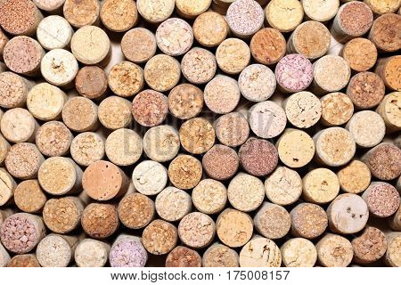 Closeup pattern background of many different wine corks, wine corks background, different wine corks texture