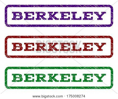 Berkeley watermark stamp. Text caption inside rounded rectangle with grunge design style. Vector variants are indigo blue red green ink colors. Rubber seal stamp with dirty texture.