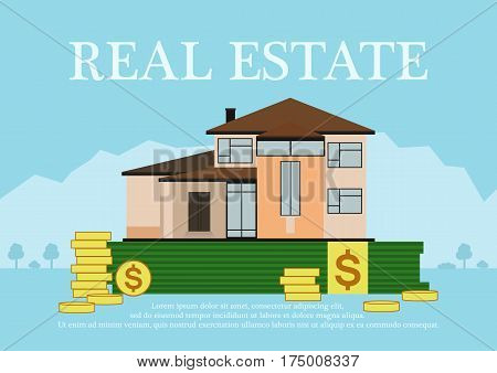 Cute cartoon house for sale or rent in flat building style staing in money with sign real estate.background in blue pastel colors. country views with trees and shrubs. real estate purchase. vector illustration