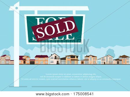 Sold sign in front of cute houses in flat building style. background with blue pastel colors. country views with trees and shrubs. real estate purchase. vector illustration