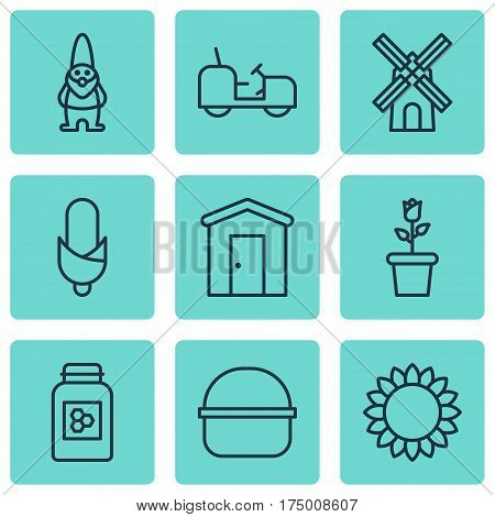 Set Of 9 Garden Icons. Includes Agrimotor, Floret, Helianthus And Other Symbols. Beautiful Design Elements.