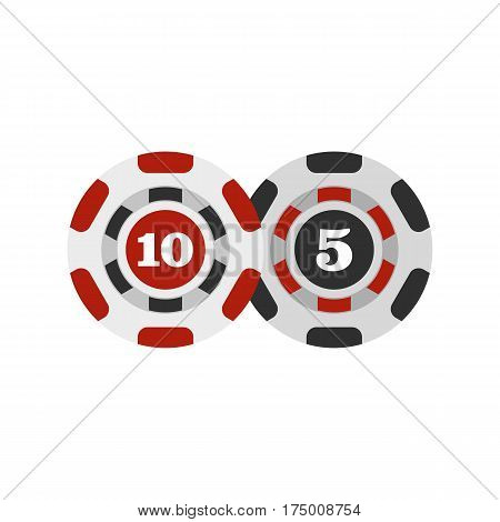 Poker chips nominal five and ten icon isolated on white background vector illustration