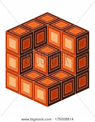 Abstract decorative design for background or ornamental use, cube illusion