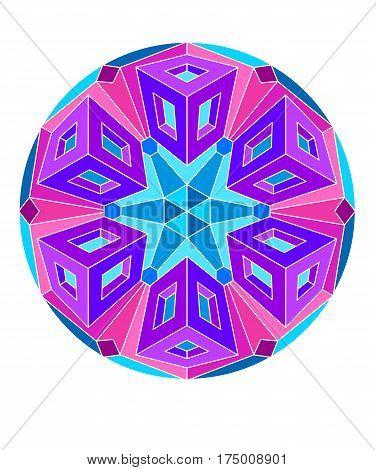 Kaleidoscopic design in Sixties Modern style, op art mandala