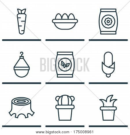 Set Of 9 Farm Icons. Includes Grains, Tree Stub, Ovum And Other Symbols. Beautiful Design Elements.