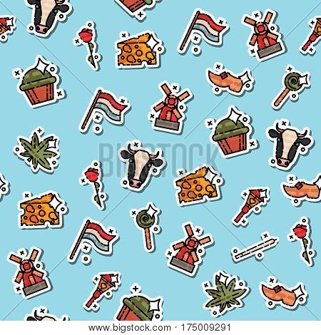Colored holland pattern. Symbols of Netherlands. Pattern on the theme of travel and tourism. Background for use in design, packing, web site, fabric
