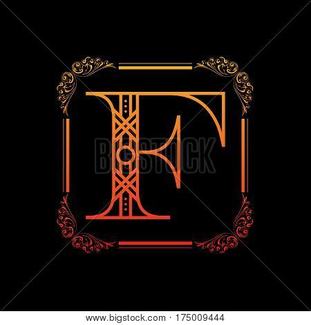 Decorative letter F with abstract frame isolated on black background