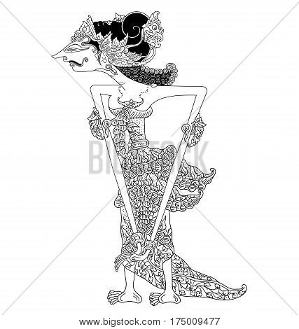 Amba, a character of traditional puppet show, wayang kulit from java indonesia.