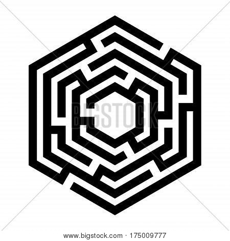 Abstract maze. Labyrinth in shapes of hexahedron. Modern design of mystery patterns for business, decoration. Vector illustration on white background
