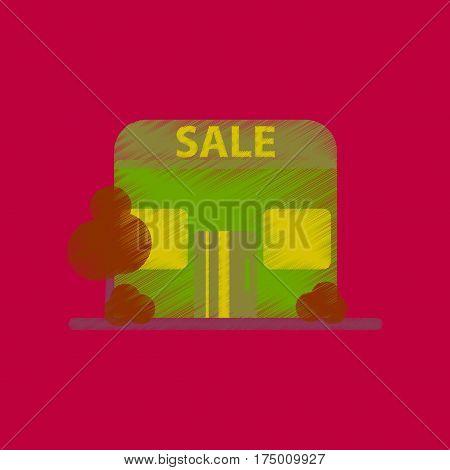 Hand Drawn flat shading style icon Shop sale
