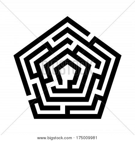 Abstract maze. Labyrinth in shapes of  pentagon . Modern design of mystery patterns for business, decoration. Vector illustration on white background