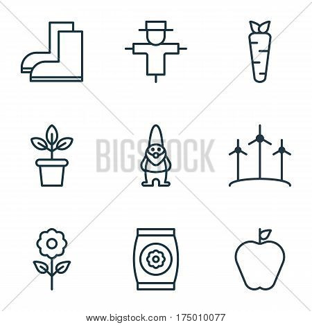 Set Of 9 Gardening Icons. Includes Flowerpot, Decorative Plant, Windmill And Other Symbols. Beautiful Design Elements.