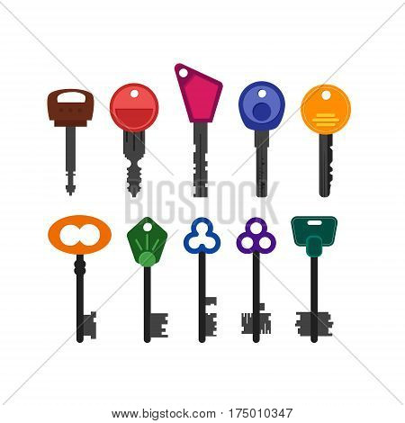Collection of colorful vintage and modern key icons. House or apartment keys. Trendy flat design. Simple vector illustration on white background.