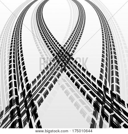 Two black and two gray tire track silhouettes
