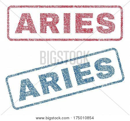 Aries text textile seal stamp watermarks. Blue, red fabric vectorized texture. Vector caption inside rounded rectangular banner. Rubber sticker with fiber textile structure.