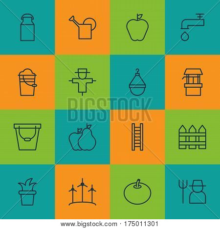 Set Of 16 Plant Icons. Includes Spigot, Stairway, Windmill And Other Symbols. Beautiful Design Elements.