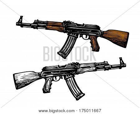 Weaponry, armament symbol. Automatic machine AK 47. Kalashnikov assault rifle, sketch. Vector illustration isolated on white background