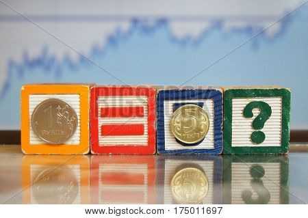 Russian Ruble and Kazakhstan Tenge coins on the cubes