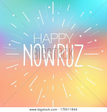Happy Nowruz greeting card. Iranian Persian New Year. March equinox. Colorful vector illustration for holiday celebration. Spring and vacation theme. Flyer poster creative template