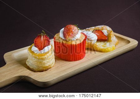 Cup Cake Strawberry With Vol Au Vent Strawberry And Danish Square Strawberry
