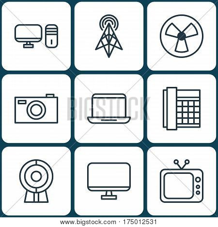 Set Of 9 Gadget Icons. Includes Wireless Router, Work Phone, Personal Computer And Other Symbols. Beautiful Design Elements.