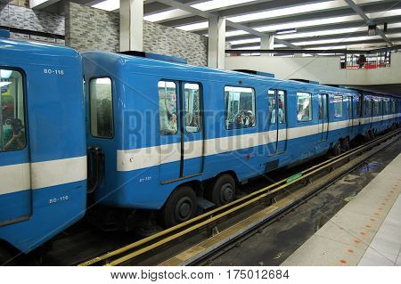 MONTREAL - May. 4, 2009: Old style Montreal Metro Subway with special rubber wheels, Montreal, Quebec, Canada.