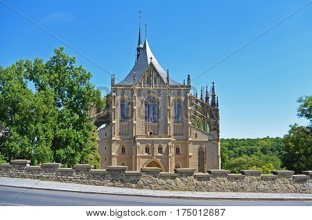 Front view from way on church of Saint Barbara a Roman Catholic church in the Gothic Style at Kutna Hora Czech Republic Europe